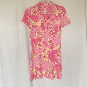 Lilly Pulitzer XS pink yellow flower polo collared